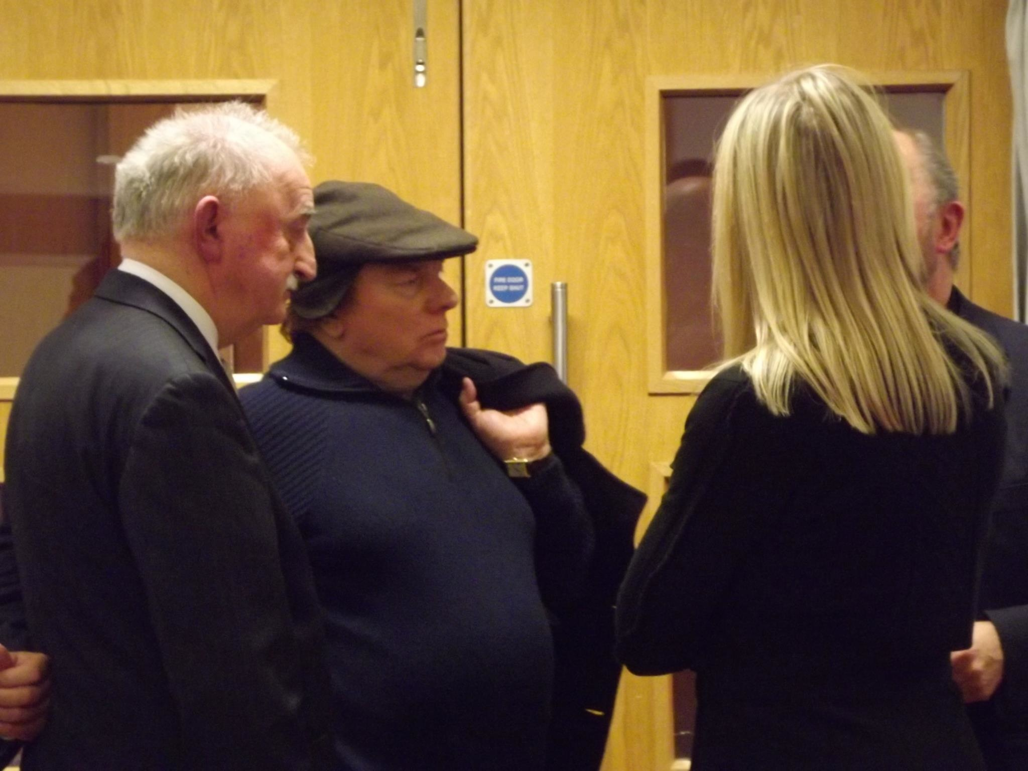 Van Morrison with Dr Ian Adamson at the launch of Slí Cholmcille at the Linenhall Library in Belfast