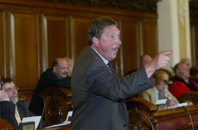 Sammy Wilson in typically finger-pointing mode in Belfast City Council. One wonders what David Ervine in the background would be thinking of recent events.