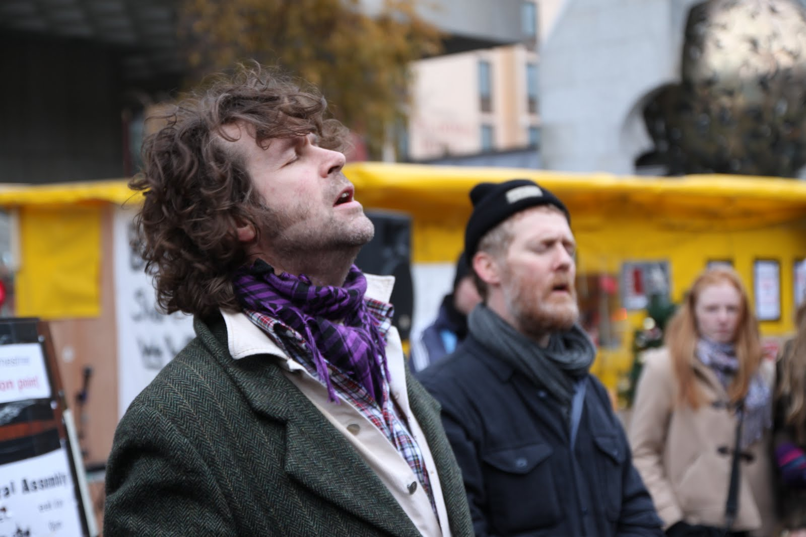 Liam Ó Maonlaí and Glen Hansard at Occupy Dame Street in Dublin